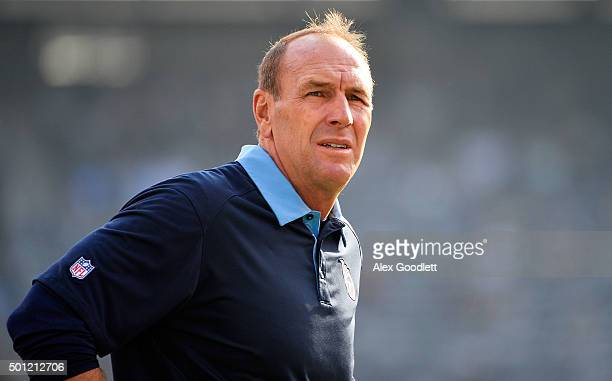 Head coach Mike Mularkey of the Tennessee Titans looks on prior to to their game against the New York Jets at MetLife Stadium on December 13 2015 in...