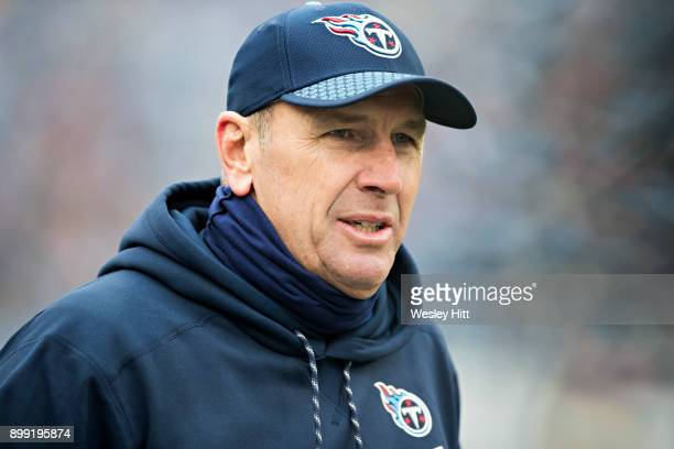 Head Coach Mike Mularkey of the Tennessee Titans on the sidelines during a game against the Los Angeles Rams at Nissan Stadium on December 24 2017 in...