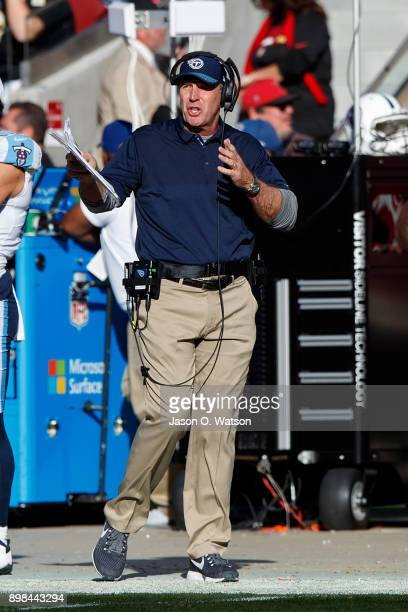 Head coach Mike Mularkey of the Tennessee Titans stands on the sidelines against the San Francisco 49ers during the second quarter at Levi's Stadium...