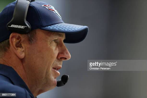 Head coach Mike Mularkey of the Tennessee Titans watches from the sidelines during the NFL game against the Arizona Cardinals at the University of...