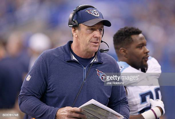 Head coach Mike Mularkey of the Tennessee Titans watches the action during the game against the Indianapolis Colts at Lucas Oil Stadium on January 3...