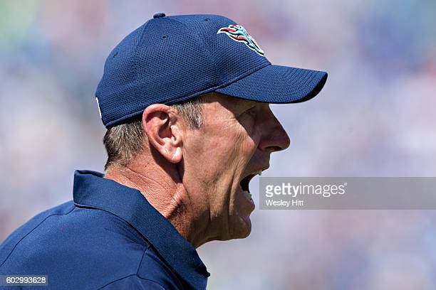 Head Coach Mike Mularkey of the Tennessee Titans yells at the officials during a game against the Minnesota Vikings at Nissan Stadium on September 11...