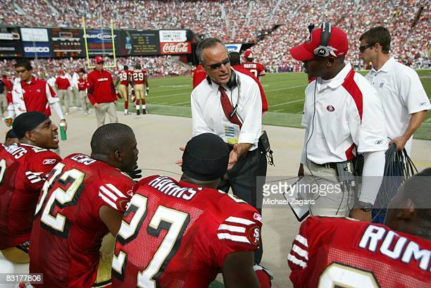 Head coach Mike Nolan of the San Francisco 49ers addresses the defensive backs during the NFL game against the New England Patriots on Bill Walsh...