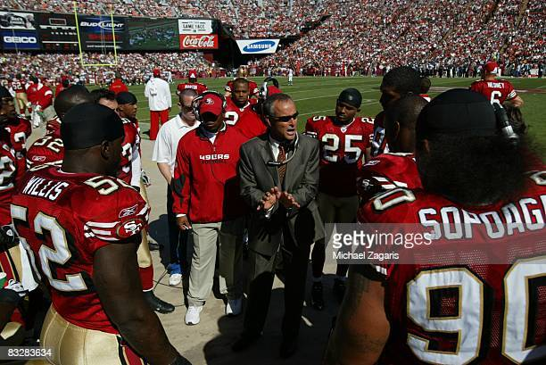 Head coach Mike Nolan of the San Francisco 49ers addresses the defensive line during the NFL game against the Philadelphia Eagles on Bill Walsh Field...