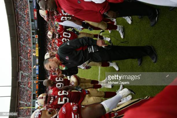 Head Coach Mike Nolan of the San Francisco 49ers addresses the team during the game against the Arizona Cardinals at Monster Park on December 4th...