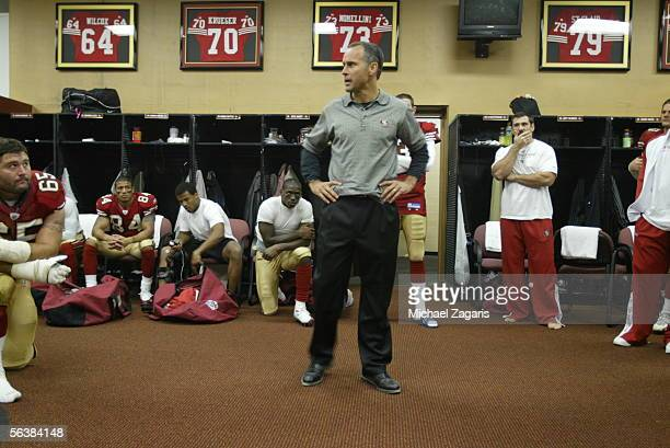 Head Coach Mike Nolan of the San Francisco 49ers addresses the team in the locker room after the game against the Arizona Cardinals at Monster Park...