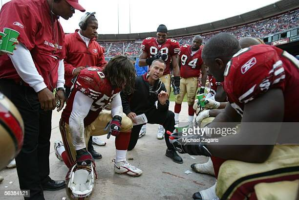 Head Coach Mike Nolan of the San Francisco 49ers addresses the defense during the game against the Arizona Cardinals at Monster Park on December 4th...