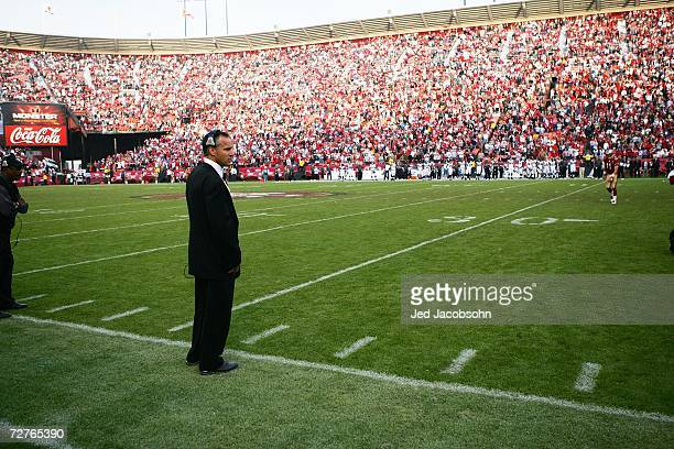 Head coach Mike Nolan of the San Francisco 49ers looks on against the Seattle Seahawks at Monster Park on November 19 2006 in San Francisco...