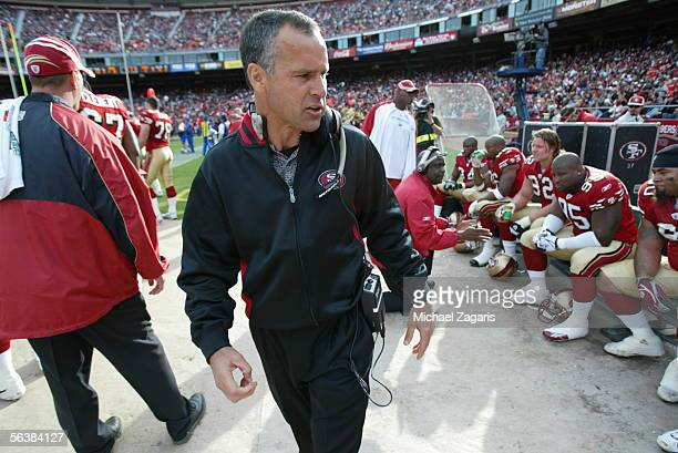 Head Coach Mike Nolan of the San Francisco 49ers looks on during the game against the Arizona Cardinals at Monster Park on December 4th 2005 in San...