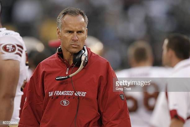 Head coach Mike Nolan of the San Francisco 49ers scowls on the sidelines during a preseason game against the Oakland Raiders on August 8 at the...