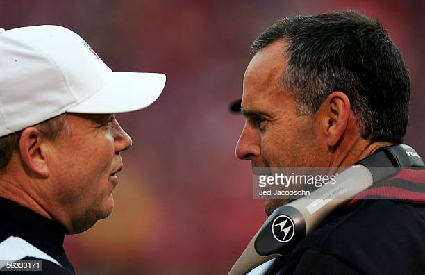 Head Coach Mike Nolan of the San Francisco 49ers talks with Walt Coleman after a failed coach's challenge during the game against the Arizona...