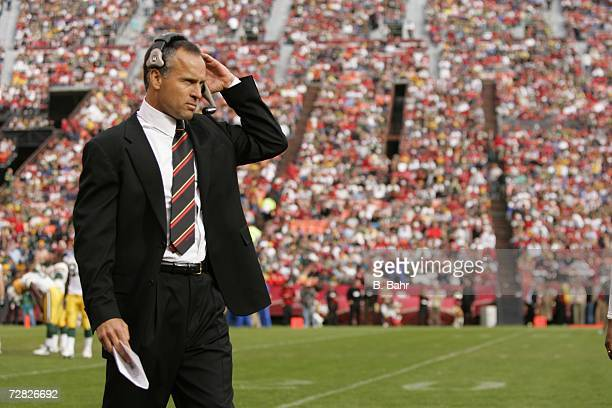 Head coach Mike Nolan of the San Francisco 49ers walks the sideline in a game against the Green Bay Packers on December 10 2006 at Monster Park in...