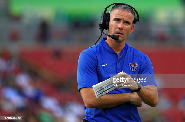 Head coach Mike Norvell of the Memphis Tigers looks on during a game against the South Florida Bulls at Raymond James Stadium on November 23 2019 in...
