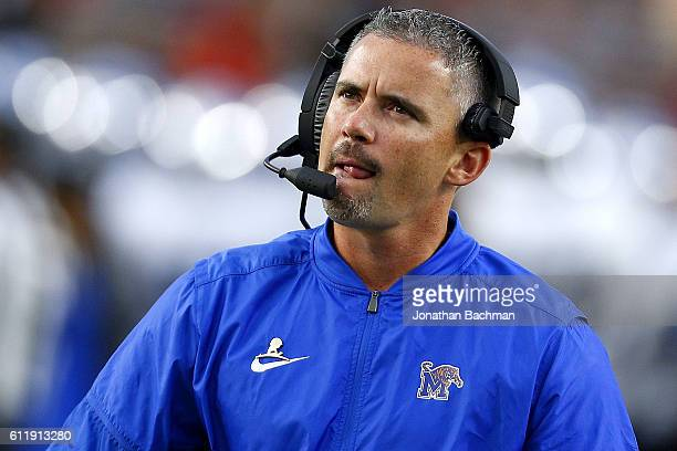 Head coach Mike Norvell of the Memphis Tigers reacts during the first half of a game against the Mississippi Rebels at VaughtHemingway Stadium on...