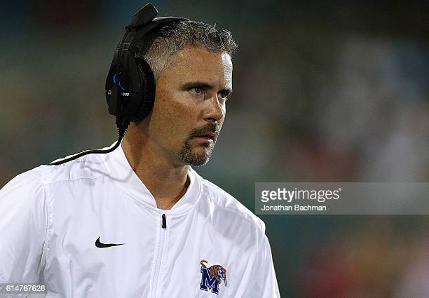 Head coach Mike Norvell of the Memphis Tigers reacts during the first half of a game against the Tulane Green Wave at Yulman Stadium on October 14...