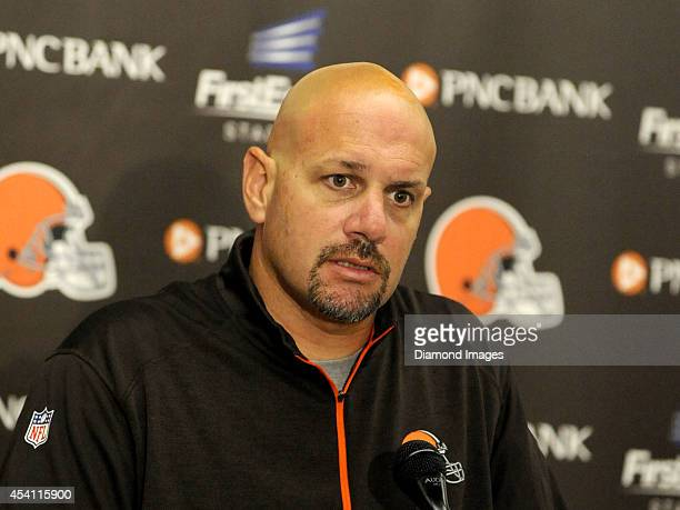 Head coach Mike Pettine of the Cleveland Browns answers questions from the media following a preseason game against the St Louis Rams on August 23...