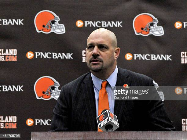 Head coach Mike Pettine of the Cleveland Browns answers questions from the media during his introductory press conference at the Cleveland Browns...