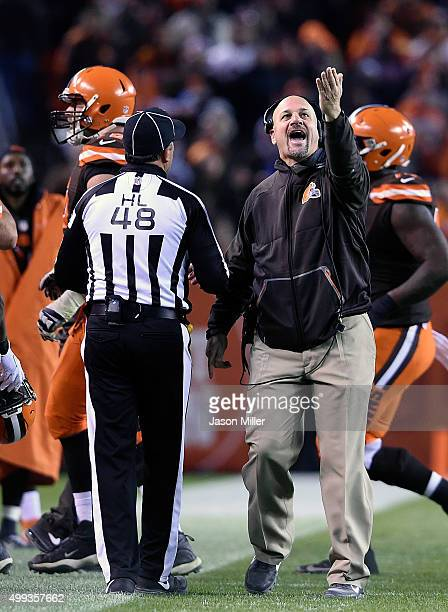 Head coach Mike Pettine of the Cleveland Browns argues a call during the fourth quarter against the Baltimore Ravens at FirstEnergy Stadium on...