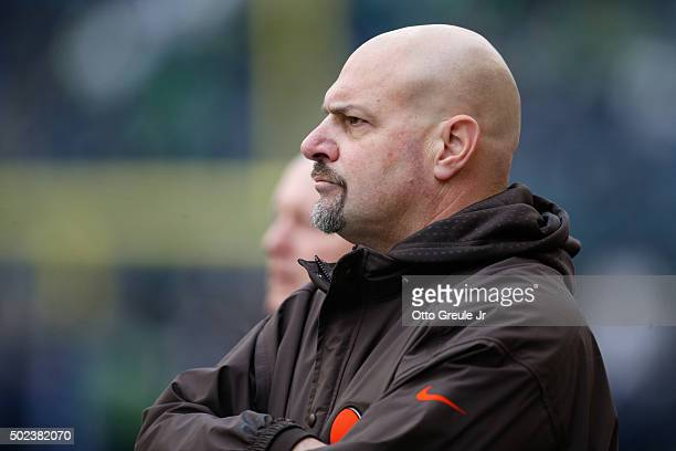 Head coach Mike Pettine of the Cleveland Browns looks on against the Seattle Seahawks at CenturyLink Field on December 20 2015 in Seattle Washington