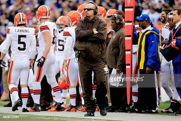 Head coach Mike Pettine of the Cleveland Browns looks on during the first half of a game against the Baltimore Ravens at MT Bank Stadium on December...