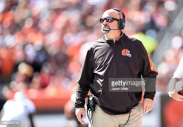 Head coach Mike Pettine of the Cleveland Browns looks on during the first quarter against the Oakland Raiders at FirstEnergy Stadium on September 27...