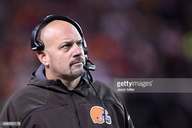 Head coach Mike Pettine of the Cleveland Browns looks on during the first quarter against the Baltimore Ravens at FirstEnergy Stadium on November 30...