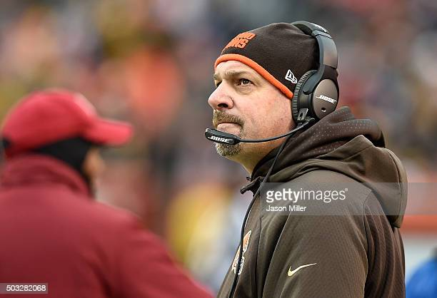 Head coach Mike Pettine of the Cleveland Browns looks on during the first quarter against the Pittsburgh Steelers at FirstEnergy Stadium on January 3...