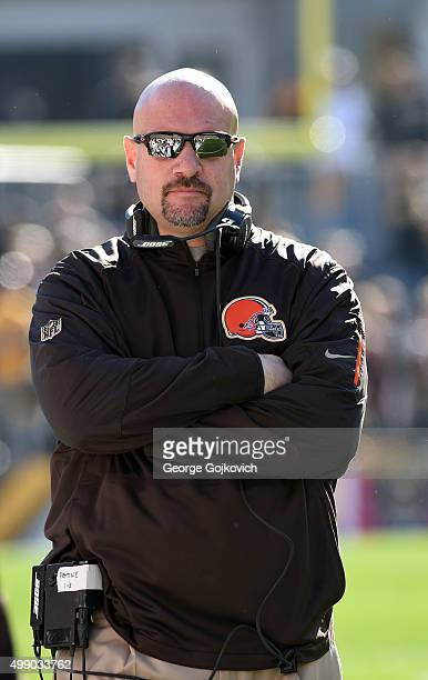 Head coach Mike Pettine of the Cleveland Browns looks on from the sideline during a game against the Pittsburgh Steelers at Heinz Field on November...