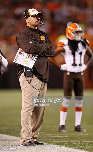 Head coach Mike Pettine of the Cleveland Browns looks on from the sideline in the second quarter during the preseason game against the St Louis Rams...