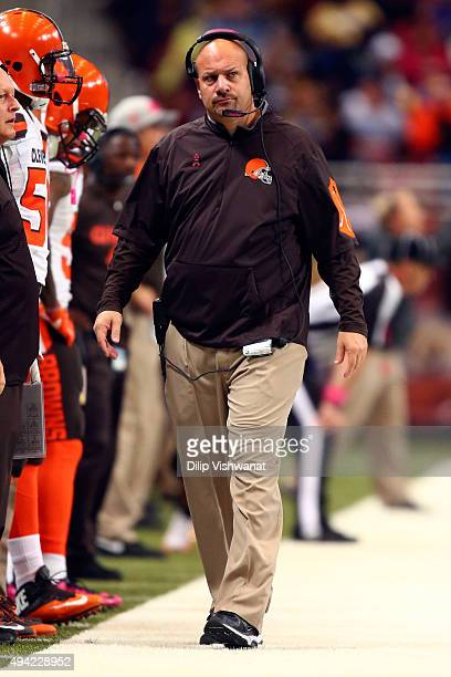 head coach Mike Pettine of the Cleveland Browns looks on from the sidelines in the second half against the St Louis Rams at the Edward Jones Dome on...