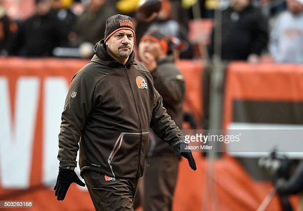 Head coach Mike Pettine of the Cleveland Browns looks on prior to the game against the Pittsburgh Steelers at FirstEnergy Stadium on January 3 2016...