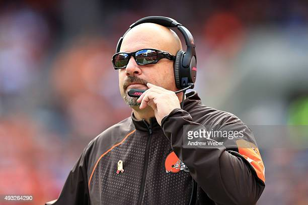 Head coach Mike Pettine of the Cleveland Browns on the sidelines during the fourth quarter against the Denver Broncos at Cleveland Browns Stadium on...