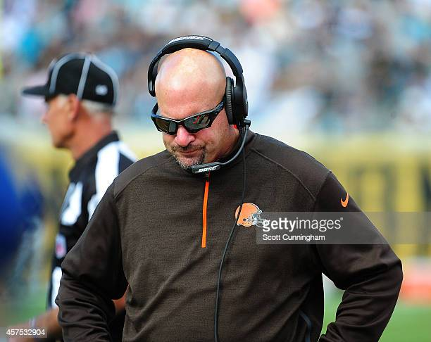 Head Coach Mike Pettine of the Cleveland Browns paces the sidelines late in the game against the Jacksonville Jaguars at EverBank Field on October 19...
