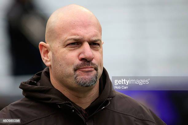 Head coach Mike Pettine of the Cleveland Browns takes the field before the start of their game against the Baltimore Ravens at MT Bank Stadium on...