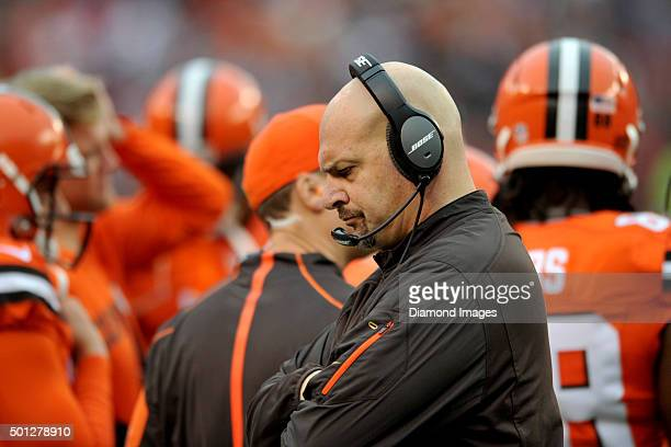 Head coach Mike Pettine of the Cleveland Browns walks along the sideline during a game against the San Francisco 49ers on December 13 2015 at...