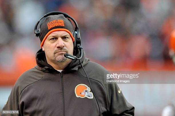 Head coach Mike Pettine of the Cleveland Browns walks along the sideline during a game against the Pittsburgh Steelers on January 3 2016 at...