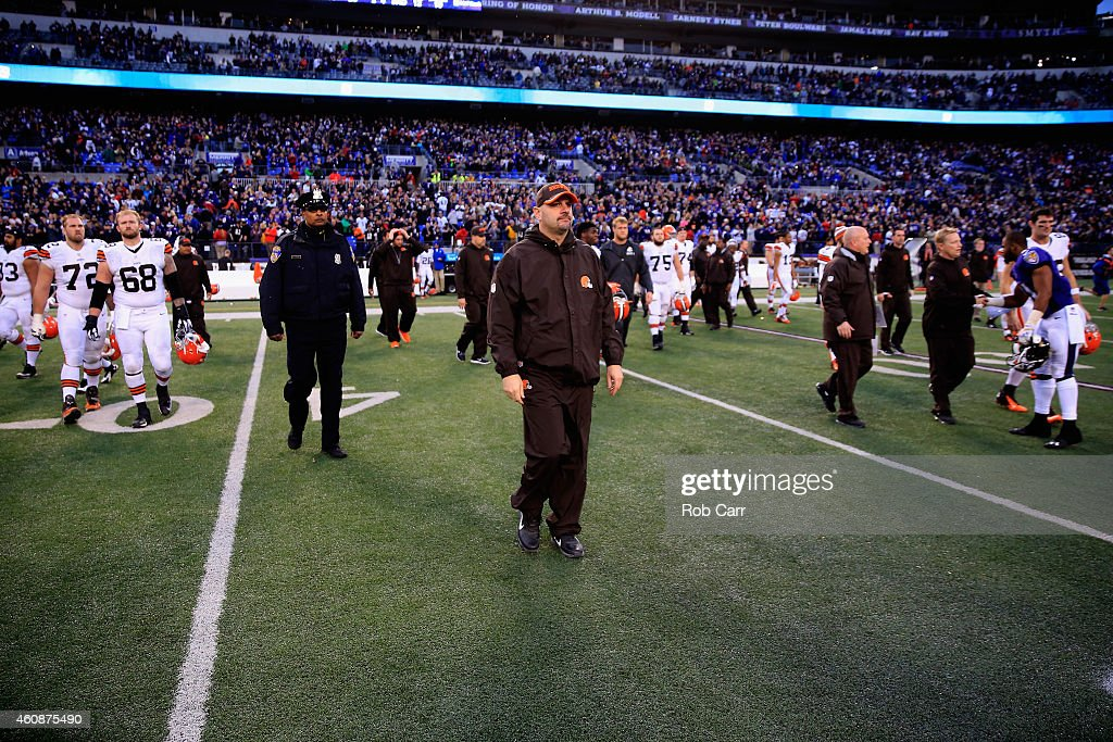 Head coach Mike Pettine of the Cleveland Browns walks off the field following the Browns 20-10 loss to the Baltimore Ravens at M&T Bank Stadium on December 28, 2014 in Baltimore, Maryland.