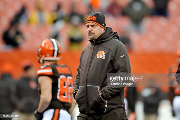 Head coach Mike Pettine of the Cleveland Browns walks onto the field prior to a game against the Pittsburgh Steelers on January 3 2016 at FirstEnergy...