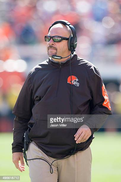 Head coach Mike Pettine of the Cleveland Browns watches from the sidelines during the first half against the Tennessee Titans at FirstEnergy Stadium...