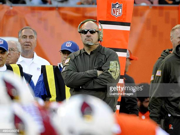Head coach Mike Pettine of the Cleveland Browns watches the action from the sideline during a game against the Arizona Cardinals on November 1 2015...