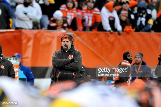 Head coach Mike Pettine of the Cleveland Browns watches the action from the sideline during a game against the Pittsburgh Steelers on January 3 2016...