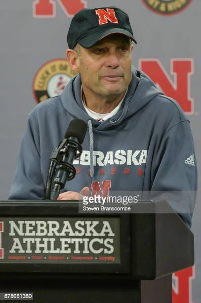 Head coach Mike Riley of the Nebraska Cornhuskers address the media after the game against the Iowa Hawkeyes at Memorial Stadium on November 24 2017...
