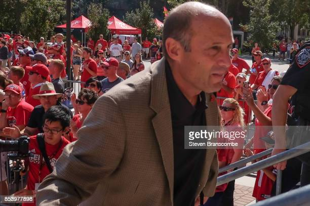 Head coach Mike Riley of the Nebraska Cornhuskers arrives a the stadium before the game against the Rutgers Scarlet Knights at Memorial Stadium on...