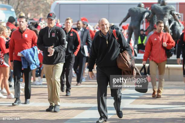 Head coach Mike Riley of the Nebraska Cornhuskers leads the the into the stadium before the game against the Northwestern Wildcats at Memorial...