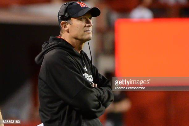 Head coach Mike Riley of the Nebraska Cornhuskers looks at the clock in late game action against the Wisconsin Badgers at Memorial Stadium on October...