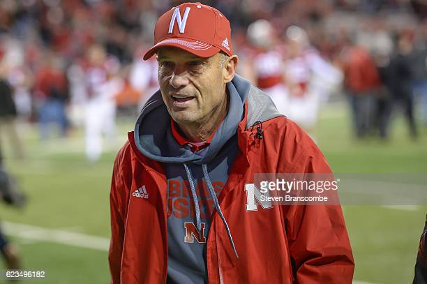 Head coach Mike Riley of the Nebraska Cornhuskers walks off the field after the game against the Minnesota Golden Gophers at Memorial Stadium on...