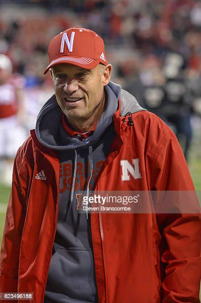 Head coach Mike Riley of the Nebraska Cornhuskers walks off the field after a win against the Minnesota Golden Gophers at Memorial Stadium on...