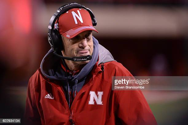 Head coach Mike Riley of the Nebraska Cornhuskers watches action against the Minnesota Golden Gophers at Memorial Stadium on November 12 2016 in...