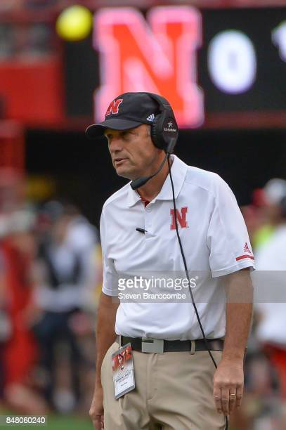 Head coach Mike Riley of the Nebraska Cornhuskers watches action against the Northern Illinois Huskies at Memorial Stadium on September 16 2017 in...