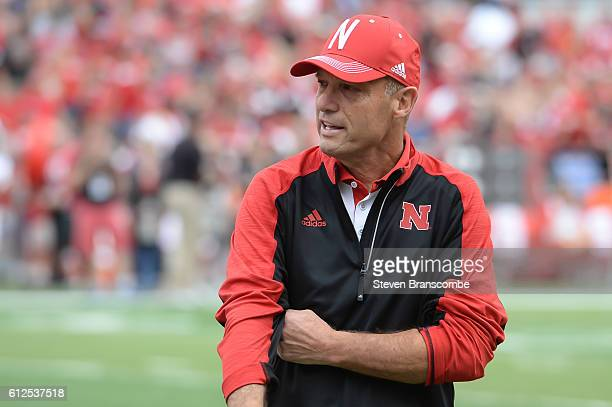 Head coach Mike Riley of the Nebraska Cornhuskers watches practice before the game against the Illinois Fighting Illini at Memorial Stadium on...